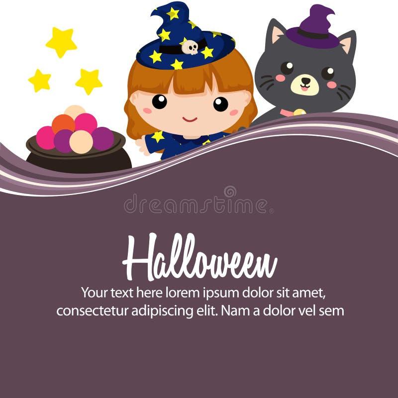 Gelukkige lieve de heksen vlakke stijl van Halloween vector illustratie