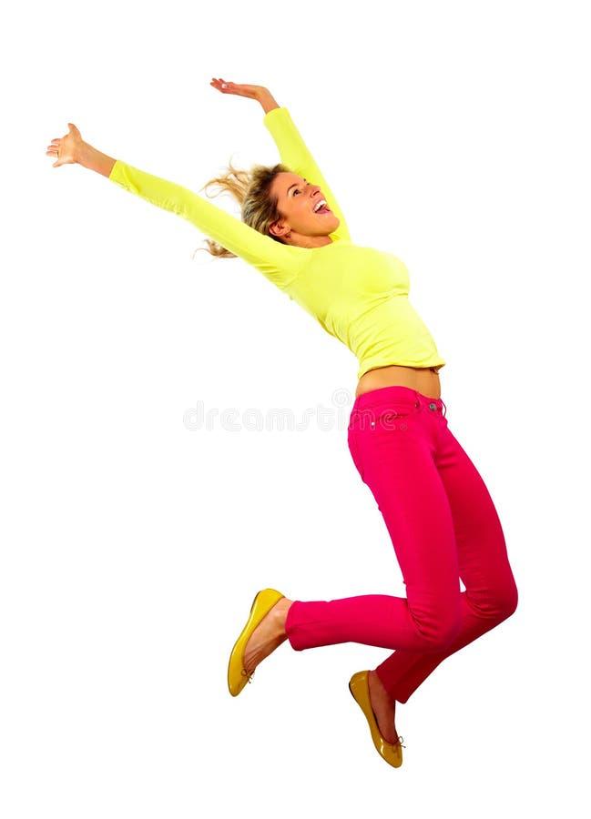 Gelukkige lopende jonge vrouw stock fotografie
