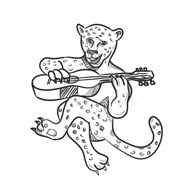 Gelukkige Luipaard die Akoestisch Gitaarbeeldverhaal spelen vector illustratie
