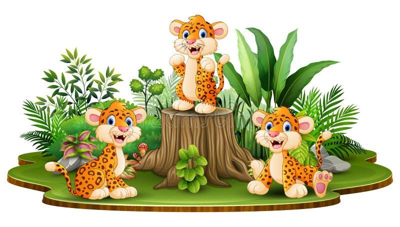 Gelukkige luipaardgroep met groene installaties vector illustratie