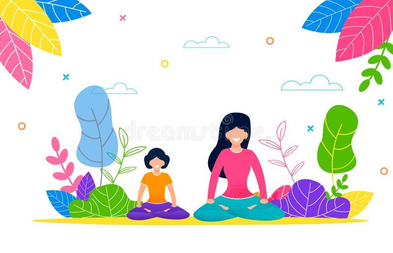 Gelukkige Mamma en Daughter do Yoga Outdoors in Pak royalty-vrije illustratie