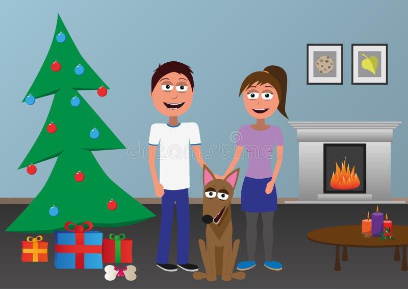 Gelukkige man en vrouw en hond die zich daarna de Kerstmisboom verenigen vector illustratie