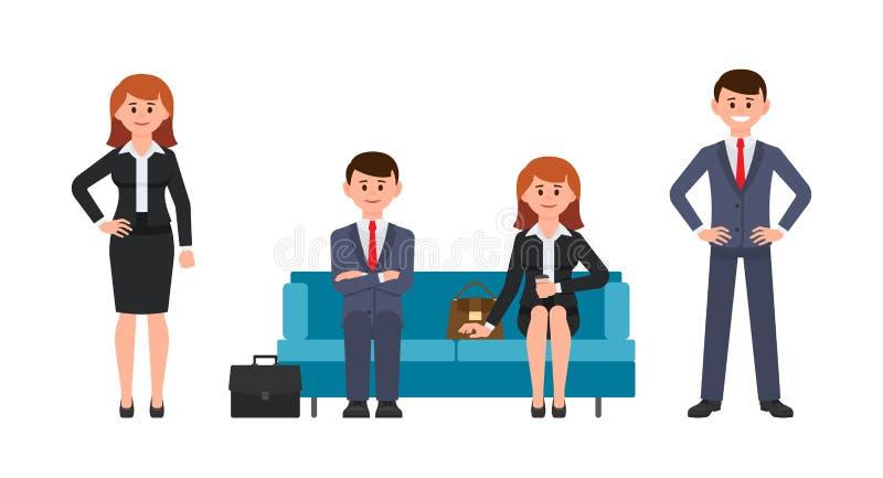 Gelukkige man zitting op blauwe bank met gekruiste handen, vrouw het drinken koffie vector illustratie
