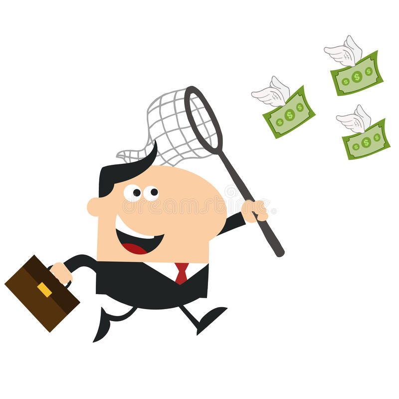 Gelukkige Manager Chasing Flying Money met een Net Vlakke ontwerpstijl stock illustratie