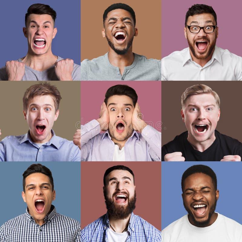 Gelukkige mannelijke gezichtencollage royalty-vrije stock foto
