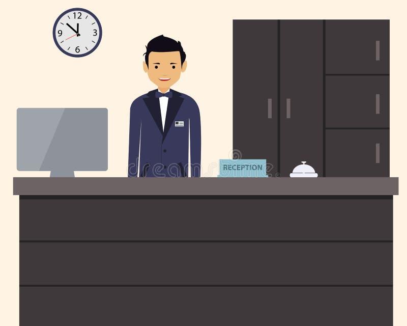 Gelukkige mannelijke receptionnist die zich bij hotel bevinden vector illustratie