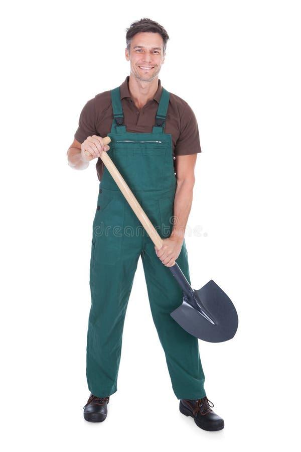 Gelukkige mannelijke tuinman stock afbeeldingen