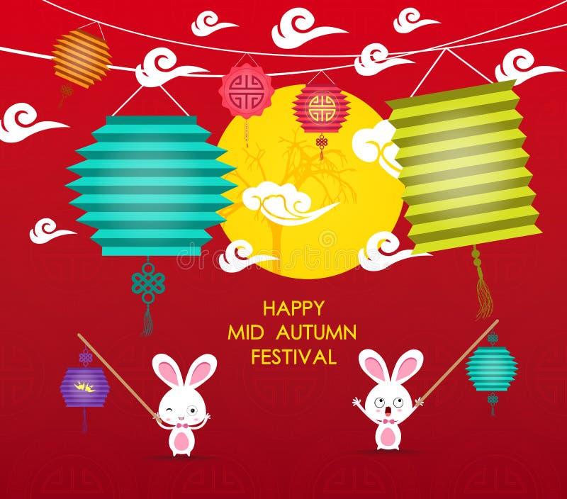 Gelukkige Medio Autumn Festival-achtergrond met konijnlantaarn stock illustratie