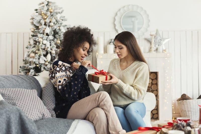 Gelukkige meisjes die Kerstmisgiften ruilen royalty-vrije stock afbeelding