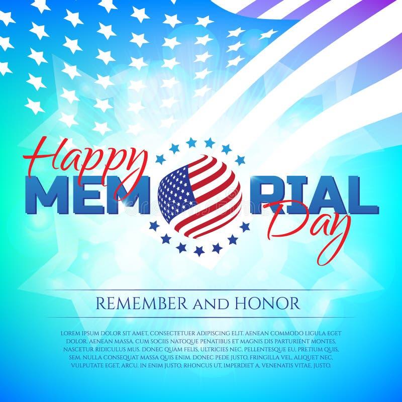 Gelukkige Memorial Day -groetkaart met nationale vlagkleuren en sterren op kleurrijke achtergrond Herinner me en eer royalty-vrije illustratie