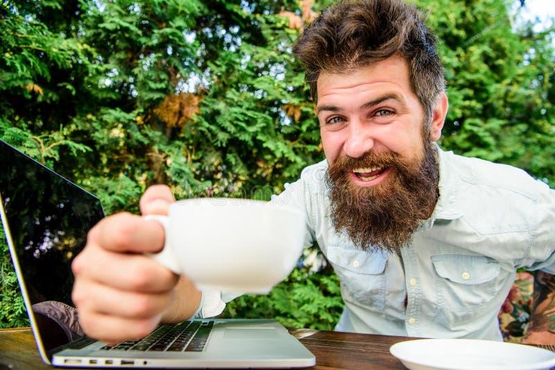 Gelukkige mens die aan laptop werkt brutale gebaarde hipster bij koffiepauze Op groene achtergrond Succesvolle zakenman behendig royalty-vrije stock foto's