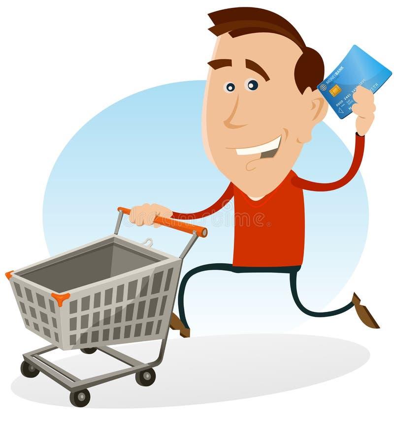 Gelukkige Mens die met Creditcard winkelt stock illustratie