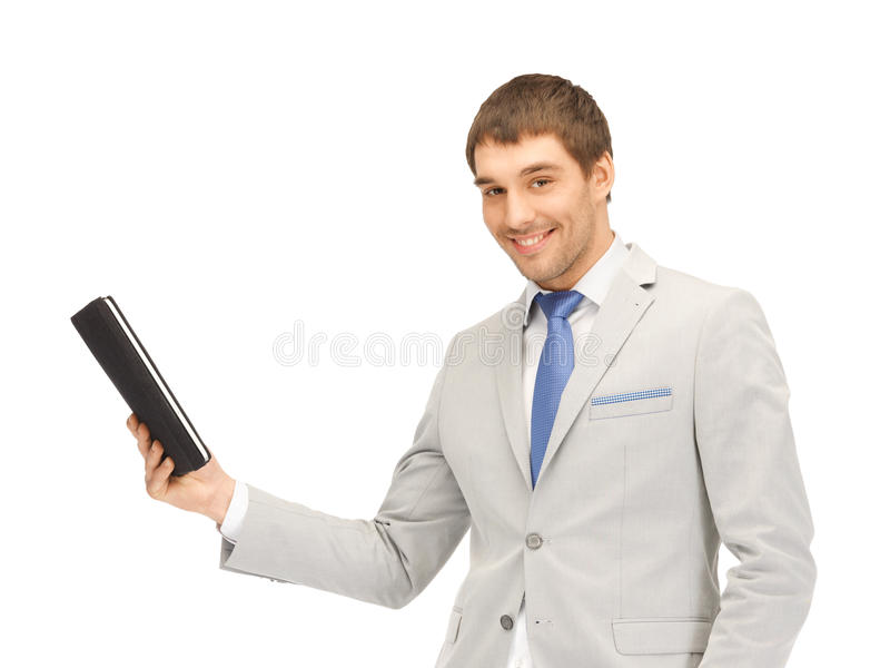 Gelukkige mens met de computer van tabletPC stock foto