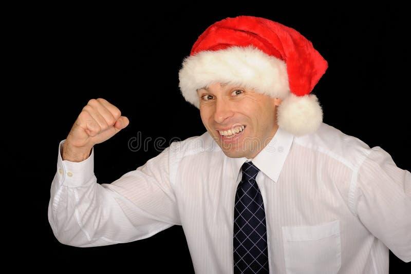 Gelukkige mens met de hoed van de Kerstman royalty-vrije stock fotografie