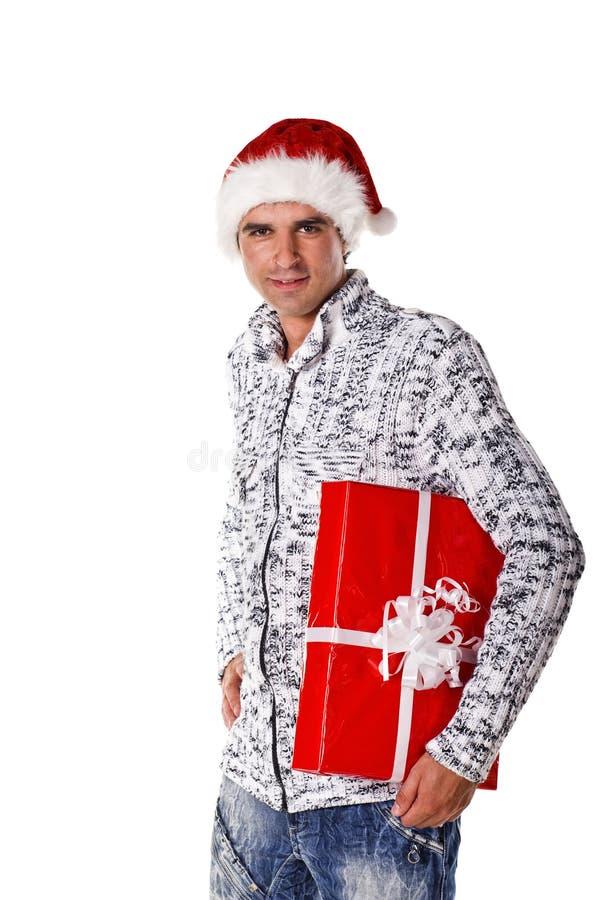 Gelukkige mens met grote giftdoos stock foto