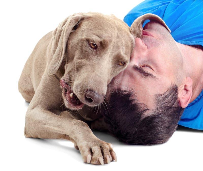 Gelukkige mens met hond royalty-vrije stock foto's