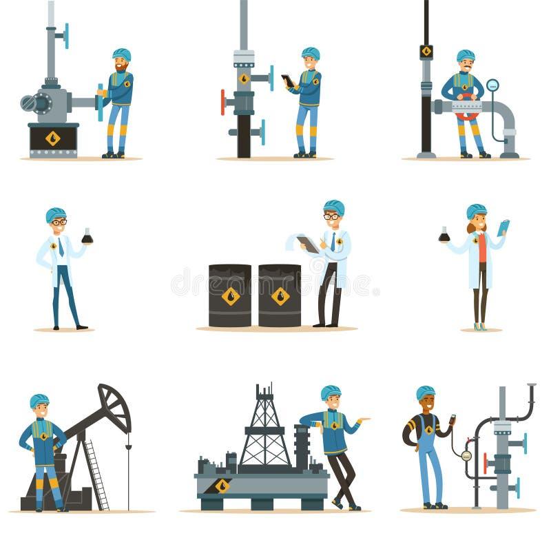 Gelukkige Mensen die in de Reeks van de Olieindustrie Beeldverhaalkarakters werken die bij de Pijpleiding en Aardolieextractie we stock illustratie