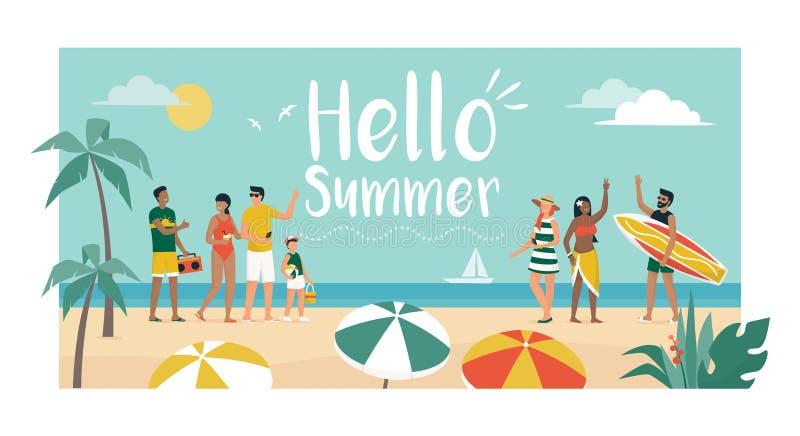 Gelukkige mensen die de zomer van vakanties op het strand genieten stock illustratie