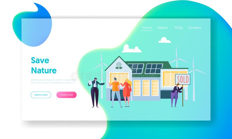 Gelukkige Mensen die Nieuw Huis kopen Makelaar in onroerend goed Communicate met Cliënten Het Conceptenlandingspagina van het Eco royalty-vrije illustratie