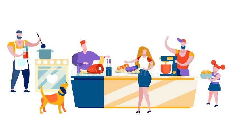 Gelukkige Mensen die thuis Familievrije tijd koken royalty-vrije illustratie