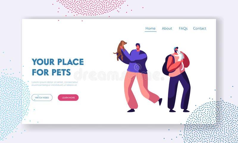 Gelukkige Mensen die Vrije tijd en Pret met Honden hebben, die met Puppy spelen Breng Tijd met Huisdieren door, Zorg, Levensstijl vector illustratie