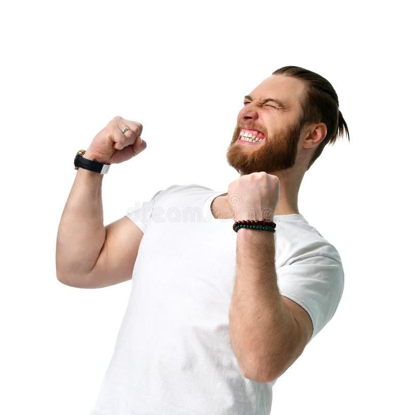 Gelukkige mensen gelukkige gelukkig maakt winstteken met handen vierend lachen geïsoleerd op wit royalty-vrije stock afbeelding