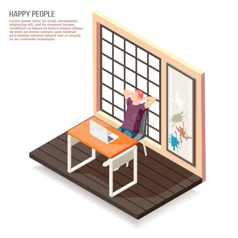 Gelukkige Mensen Isometrische Samenstelling royalty-vrije illustratie