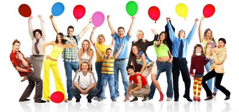 Gelukkige mensen met ballen royalty-vrije stock foto's