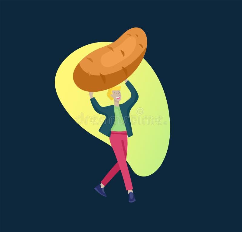 Gelukkige Mensen met en groenten die springen dansing Vegetarisme, gezonde levensstijl Veggie recept, vegetarisch dieet, vlees royalty-vrije illustratie