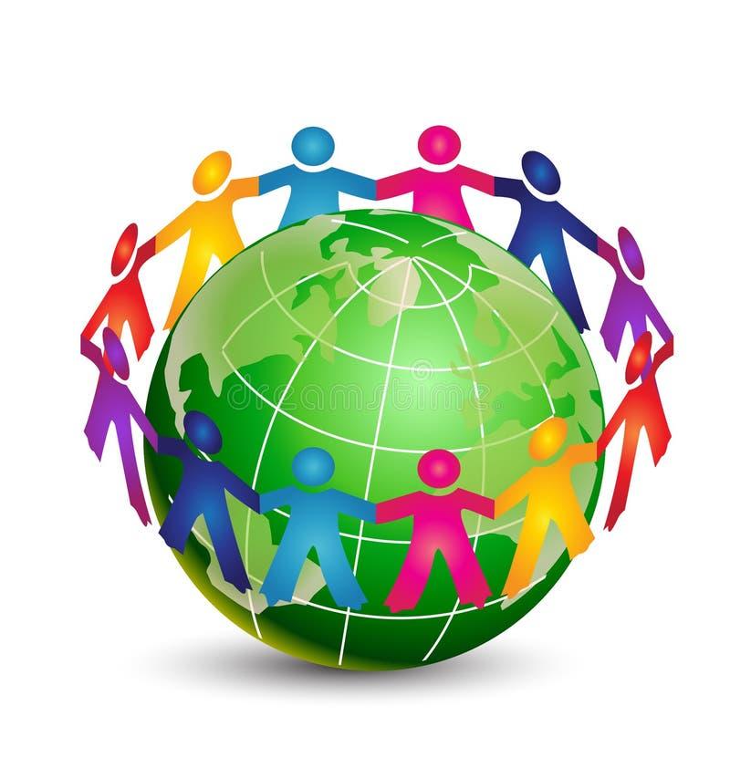 Gelukkige mensen rond wereld stock illustratie