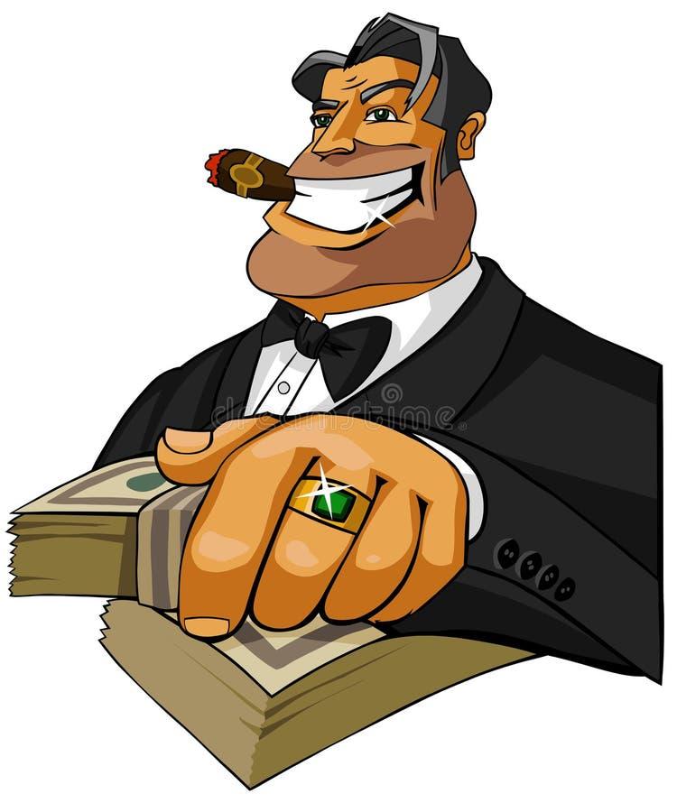 Gelukkige miljonair met sigaar royalty-vrije illustratie