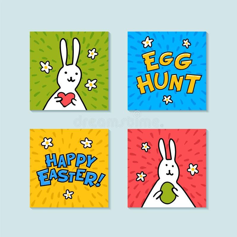 Gelukkige mini de groetkaarten van Pasen Eijacht en gelukkige Pasen-inschrijvingen, en leuke konijntjes op kleur Achtergrond Vect vector illustratie