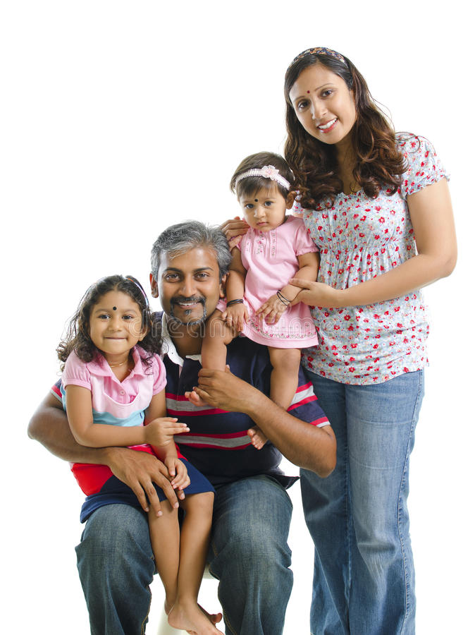 Gelukkige moderne Indische familie royalty-vrije stock foto