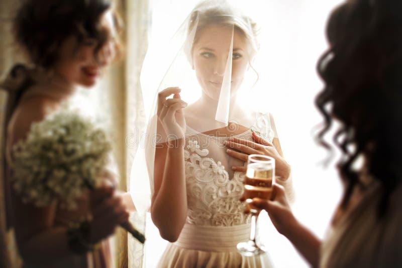 Gelukkige modieuze schitterende blondebruid met bruidsmeisjes op bac royalty-vrije stock afbeelding