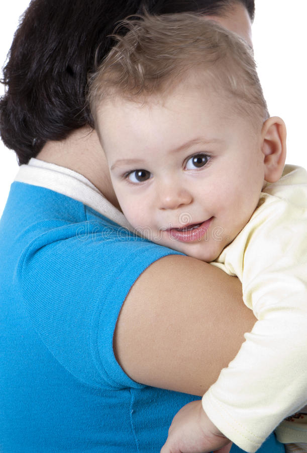 Gelukkige moeder met baby stock afbeeldingen