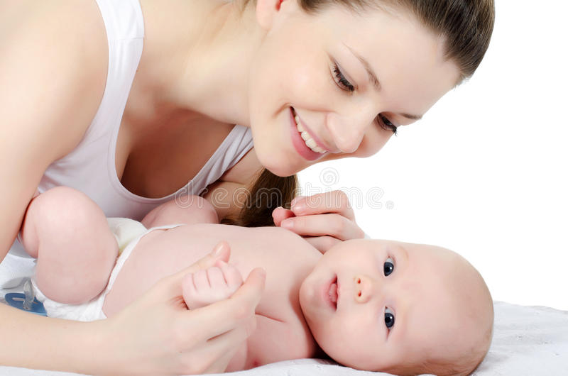 Gelukkige moeder met baby stock foto