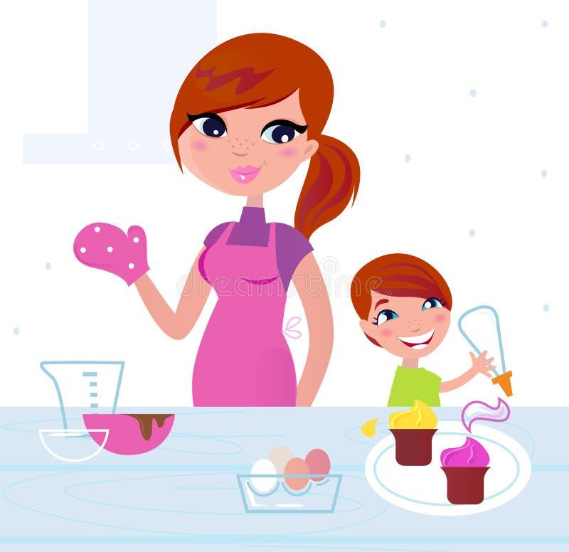 Gelukkige moeder met haar zoon het koken in de keuken stock illustratie