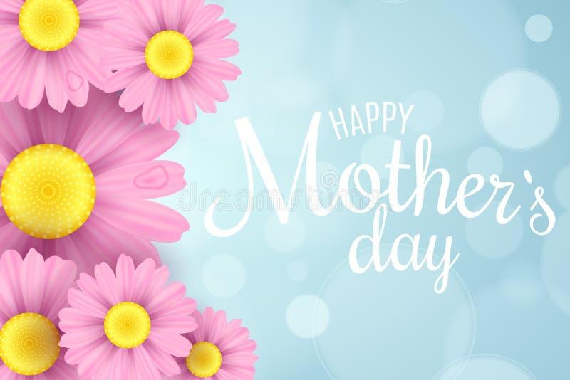 Gelukkige moeder`s dag De kaart van de groet Roze madeliefjebloemen op een lichtblauwe achtergrond met glans bokeh Witte tekst Ro stock illustratie