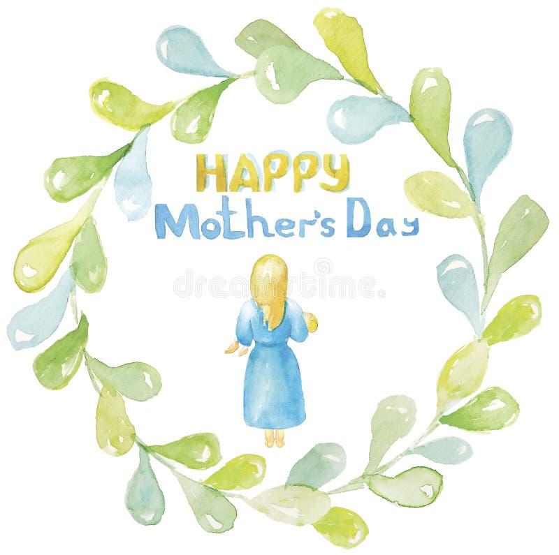 Gelukkige moeder`s dag Een jonge vrouw, een meisje, een moeder met blond haar in een blauwe kleding, blootvoets, het houden, die  stock illustratie