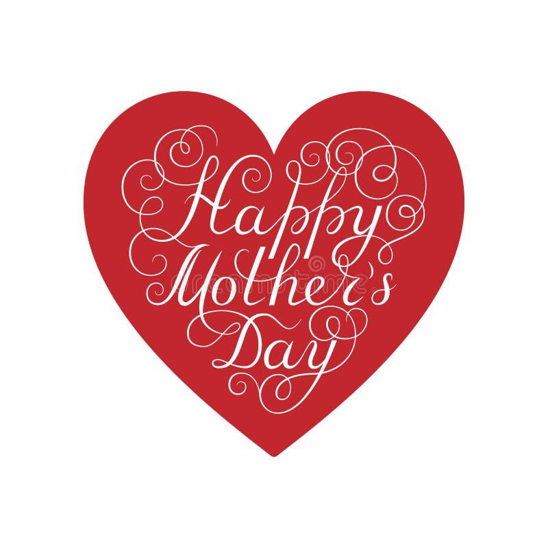 Gelukkige moeder`s dag Witte inktkalligrafie op witte achtergrond Rode hartvorm Gebruikt voor groetkaart, afficheontwerp Getrokke vector illustratie