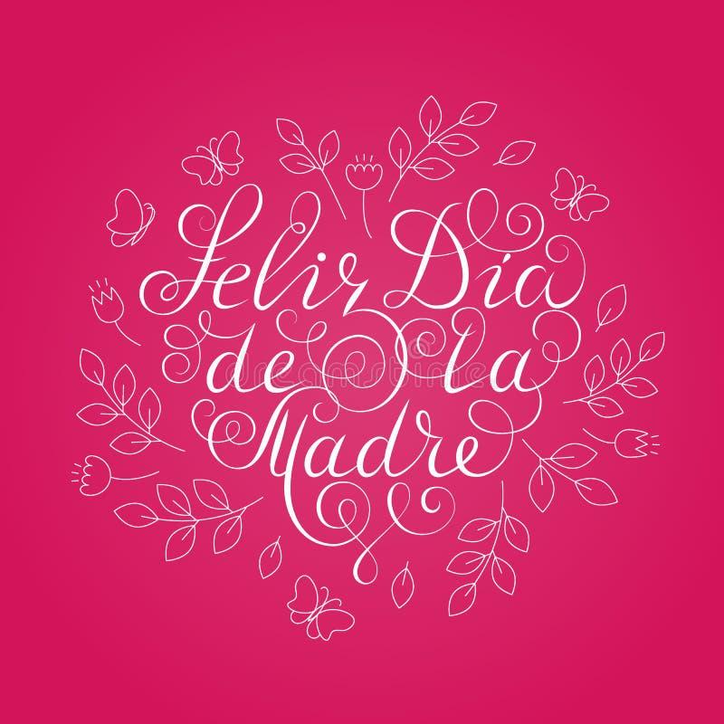 Gelukkige moeder`s dag Witte inktkalligrafie op roze achtergrond De vorm van het hart Gebruikt voor groetkaart, afficheontwerp Ge royalty-vrije illustratie