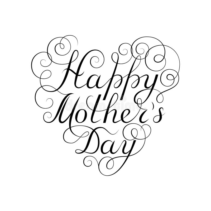 Gelukkige moeder`s dag Zwarte inktkalligrafie op witte achtergrond De vorm van het hart Gebruikt voor groetkaart, afficheontwerp  vector illustratie