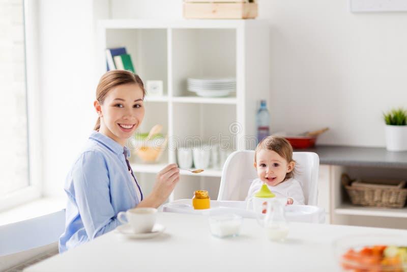 Gelukkige moeder voedende baby met puree thuis stock afbeeldingen