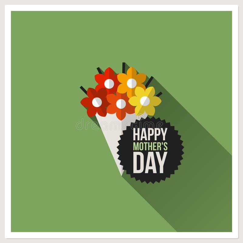 Gelukkige Moederdag. Vlak vectorontwerp met kleurrijk boeket stock illustratie