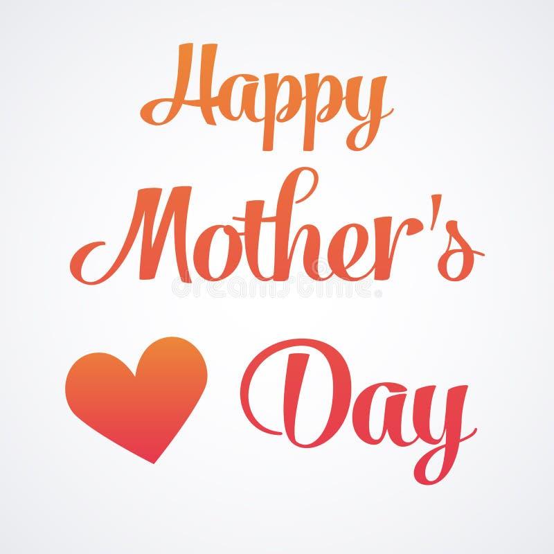 Gelukkige Moedersdag die Kalligrafisch Embleem van letters voorzien Vectorontwerpelement voor Groetkaart en Andere Drukmalplaatje vector illustratie