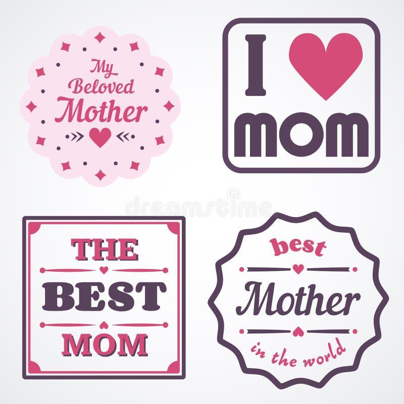 Gelukkige Moedersdag die Kalligrafische Geplaatste Emblemen en Kentekens van letters voorzien Vectorontwerpelementen voor Groetka royalty-vrije illustratie