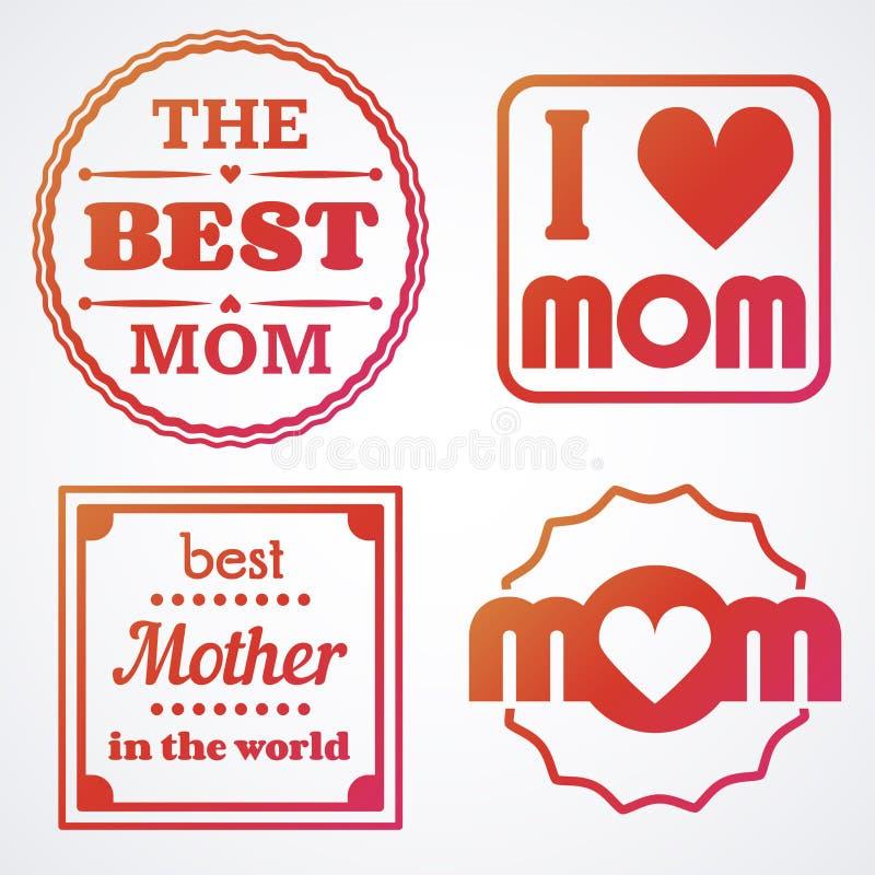 Gelukkige Moedersdag die Kalligrafische Geplaatste Emblemen en Kentekens van letters voorzien Vectorontwerpelementen voor Groetka vector illustratie