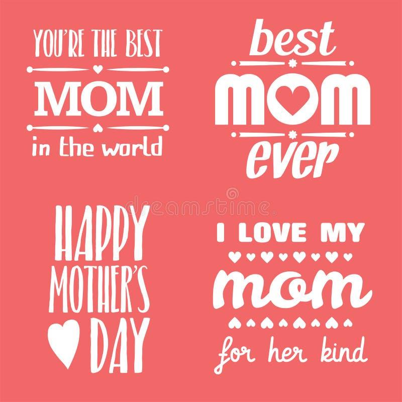 Gelukkige Moedersdag die Kalligrafische Geplaatste Emblemen en Kentekens van letters voorzien Vectorontwerpelementen voor Groetka stock illustratie