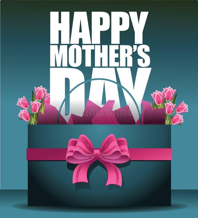 Gelukkige Moedersdag het winkelen zak en tulpen stock illustratie
