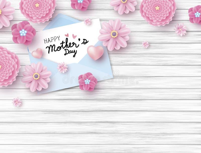 Gelukkige moedersdag op Witboek in envelop en roze bloem stock illustratie